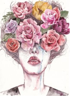 The More I Look Around The Less I Find by enondebelen.deviantart.com on @DeviantArt watercolor painting flowers portrait girl