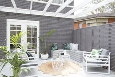 Trendy Ideas For House Exterior Design Brick Landscaping Painted Brick Exteriors, Painted Brick Walls, Design Exterior, House Paint Exterior, Outdoor Rooms, Outdoor Living, Three Birds Renovations, Built In Bench, The Design Files