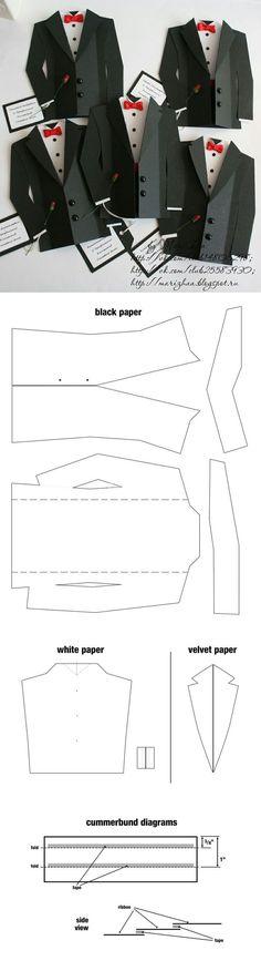 Origami: the art of folding paper - we learn by starting .- Gli Origami: l'arte di piegare la carta – impariamo partendo da qui Esmoquin. Tarjeta Día of the father: - Diy Paper, Paper Crafts, Karten Diy, Card Templates, Tie Template, Masculine Cards, Creative Cards, Diy Cards, Scrapbook Cards