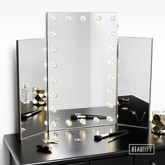 Charmant Beautify Large Trifold Hollywood Makeup Dressing Table Vanity Mirror LED  Lights