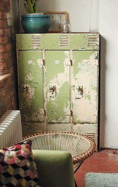 vintage retro metal school lockers cabinet storage industrial look | eBay
