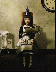 """Shichinohe Masaru is a Japanese painter born in 1959. He reveals in his paintings a surreal world and somber like characters which remind me of Alice in Wonderland. He has several books released world wide and also goes by the name of """"Maboroshi"""" which means Phantom in Japanese."""