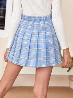 Girls Zipper Side Tartan Pleated Skirt – Kidenhouse Leopard Print Skirt, Floral Print Skirt, Tartan Pleated Skirt, Kids Outfits, Cute Outfits, Two Piece Outfit, Jeans Dress, Printed Skirts, Girls Shopping