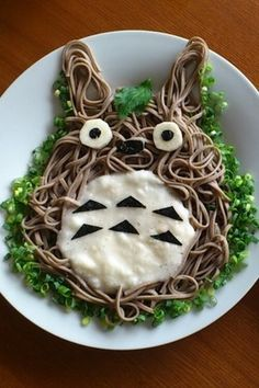 Chilled Totoro Soba Noodles with Grated Yam Recipe - How are you today? How about making Chilled Totoro Soba Noodles with Grated Yam? Cute Food, Good Food, Yummy Food, Totoro, Japanese Food Art, Kawaii Bento, Soba Noodles, Food Humor, Macaron