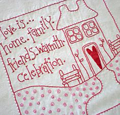 detail of Love Is quilt
