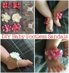 DIY Baby Footless Sandals: Measure baby's foot allowing for a little growth. Cut elastic and hot glue to velcro. Hot glue velcro to silk flowers or make bows from ribbon.