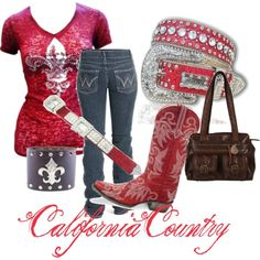 """""""Red and Brown Fleur De Lis"""" by californiacountry on Polyvore Don't love the boots, but love the shirt!"""