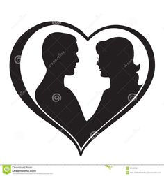 Illustration about Man and Woman Silhouette in Heart Shape. Illustration of female, heart, black - 36163581 Man And Woman Silhouette, Couple Silhouette, Silhouette Clip Art, Silhouette Images, Wedding String Art, Heart Shapes Template, Cute Drawings Of Love, Romantic Quotes For Her, Foto 3d