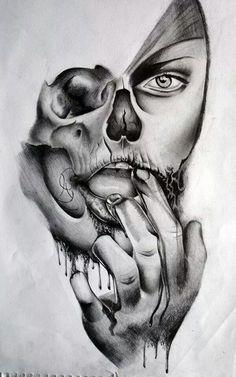 Skull Girl Tattoo, Skull Tattoos, Body Art Tattoos, Sleeve Tattoos, Lion Tattoo Design, Tattoo Design Drawings, Tattoo Sketches, Wolf Tatoo, Catrina Tattoo