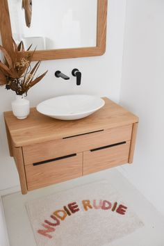 NUDIE RUDIE ... We've only got a couple of these cute bath mats left in stock, so be quick if you've been eye one off! Available online and in store www.rawsunshinecoast.com.au Pictured: North Shore timber Bathroom Vanity in American White Oak, Nudie Rudie bath mat by Sage and Clare Laundry In Bathroom, Bathroom Inspo, Bathroom Ideas, Timber Bathroom Vanities, Cute Bath Mats, First Apartment Decorating, Building A New Home, Wet Rooms, Bathroom Interior Design
