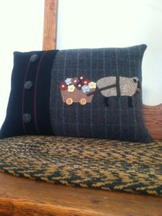 Primitive Sheep Wool Applique Pillow Cover  by WOOLYPRIMITIVES, $42.00