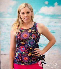 Coola Cozzies women's swim top in sizes 10 to 24. Fireworks.  #womensswimwear #swimwear #coveredswimwear