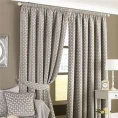 Paoletti Belmont 229x229cm Pair of Pencil Pleat Curtains, Silver