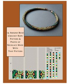 18 around bead crochet rope pattern and a photo showing a necklace made using that pattern. I did not create the pattern or necklace but put the two together as I find it useful to see the finished piece alongside the pattern when I am choosing my next pr Bead Crochet Patterns, Bead Crochet Rope, Crochet Bracelet, Beaded Jewelry Patterns, Beading Patterns, Beaded Bracelets, Beadwork Designs, Bead Jewellery, Beading Tutorials