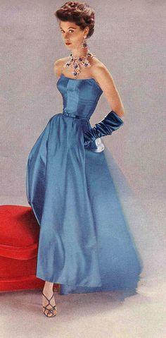 elegant blue dress, 1952