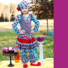 Mustard Pie Turquoise and Red Harper Long Sleeve Shirt. Red and teal dots and stripes long sleeved shirt for little girls. See More Tops and Shirts at http://www.ourgreatshop.com/Tops-Shirts-C231.aspx