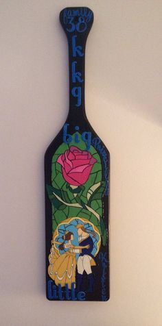 My big is the arts and craft queen; obsessed with the Beauty and the Beast stained glass paddle she made for my grand big