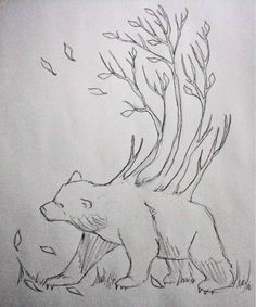 Black and White Bear Tattoo Idea. I would add a watercolor wash over this of browns and greens Raven Tattoo, I Tattoo, Bear Tattoos, Tattoo Addiction, Animal Doodles, Bear Pictures, Love Bear, Shoulder Tattoos, Tattoo Designs