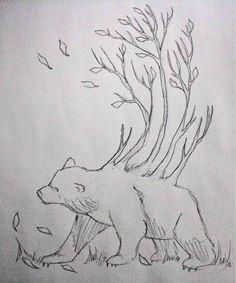 Black and White Bear Tattoo Idea... love this concept... love bears