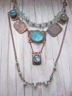 Copper Long Necklace  by Mary Bulanova