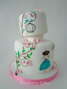 Sweet Little Girly Cake ~ hand painted