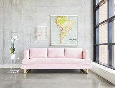 Gus* Modern Aubrey Sofa - The Aubrey Sofa embodies chic sophistication with piped edges, a button-tufted seat cushion and three luxurious back cushions. Modern Bunk Beds, Pink Couch, Bunk Beds With Stairs, Shabby Chic Homes, Shabby Chic Furniture, Luxury Furniture, Outdoor Furniture, Decorating Your Home, Decorating Ideas