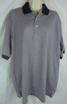Eddie Bauer Men's Black White Stripe Short Sleeve Polo Golf Shirt Size Large | eBay