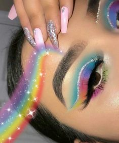 eyeshadow Y'all wanted colorful soo I had to go for it ☁️ Makeup Eye Looks, Cute Makeup, Pretty Makeup, Skin Makeup, Eyeshadow Makeup, Eyeshadows, Eyeshadow Palette, Crazy Eyeshadow, Beauty Makeup
