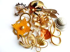 Vintage Brooch Lot  Instant Collection  Leaves by ReneeMaeVintage
