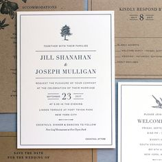 A letterpress wedding set, fit for fall! Kraft and warm white paper with charcoal gray ink. Inspired by the venue, Fort Tryon Park in New York with little tree and bird imagery.