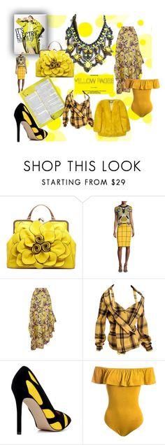 """yellow"" by mimmiandkinkistatementjewelry ❤ liked on Polyvore featuring Mary Katrantzou, Philosophy di Lorenzo Serafini, Issey Miyake and Sans Souci"