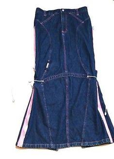 c2d5610adce28 MacGirl Long Denim Skirt Junior Womens Size 9 Open Back Slit Zippers Jean  Skirt