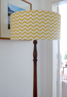Spoonflower fabric lampshade on vintage standard lamp by CaptainOates - Using Miss Tiina Fabric ww. Diy Floor Lamp, Unique Floor Lamps, Unique Flooring, Design Lounge, Floor Standing Lamps, Lighting Concepts, Living Room Update, Fabric Lampshade, Standard Lamps