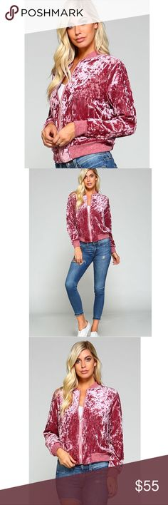 ✨JUST IN!! Hot Pink Crushed Velvet Zip Up Bomber✨ Make a statement in this adorable and chic hot pink bomber jacket! Crushed velvet, full front zip closure, long sleeved. Super soft and comfortable on! Brand new from manufacturer Boutique Jackets & Coats