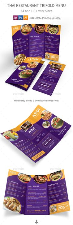 Thai Restaurant Trifold Menu Template #design #speisekarte Download: http://graphicriver.net/item/thai-restaurant-trifold-menu/8187785?ref=ksioks
