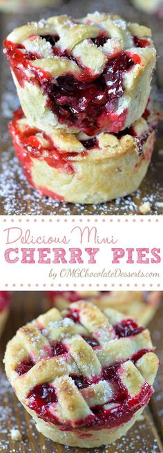 Mini Cherry Pies Mini Cherry Pies - a fun way to make a mini version of your favorite pie! Cherry Pies Mini Cherry Pies - a fun way to make a mini version of your favorite pie!Mini Cherry Pies - a fun way to make a mini version of your favorite pie! Mini Desserts, Brownie Desserts, Just Desserts, Delicious Desserts, Yummy Food, Cherry Desserts, Mini Dessert Recipes, Chocolate Desserts, Fun Deserts To Make