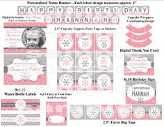 Winter Wonderland Onederland Pink Snowflake Birthday Party Package - Digital Printable File (Includes Invitation & Thank You) on Etsy, $15.00