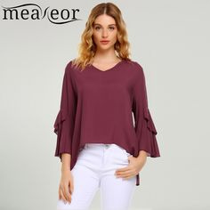 4eaf4521cab Meaneor Autumn Women Blouse Shirt 3/4 Flare Sleeve V Neck High-low Hem  Shirts Pullover Solid Loose Tops Casual Ladies Blusas