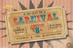Vintage Carnival birthday party invitation. $14.00, via Etsy.