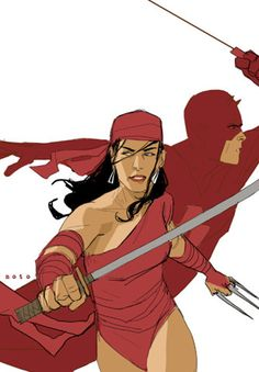 Elektra and Daredevil by Phil Noto
