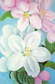 Georgia O'Keefe:  apple blossoms painted at Lake George NY where she spent a lot of time with Alfred Stieglitz