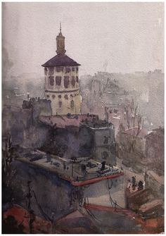 https://flic.kr/p/yqxVjV | foisorul de foc | One of the most uncomfortable paintings I ever did so far. I was leaning   outside on the window of my apartment in Bucharest , on the 10th floor.