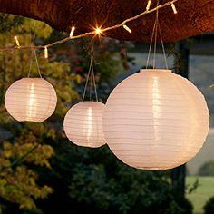 Set of 3 Warm White LED Solar Powered Chinese Lanterns Small Lanterns, White Lanterns, Outdoor Hanging Lanterns, Solar Lights, Fairy Lights, Bougie Led, Bulk Candles, Led Lampe, Garden Parties