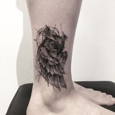 black and grey cute owl tattoo on leg
