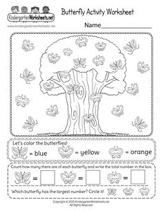 Kids are asked to count and color the different patterns of butterflies. Then they need to figure out which butterfly has the largest number. This free kindergarten worksheet can help students distinguish differences in unique patterns while developing number sense, counting, and fine motor skills.