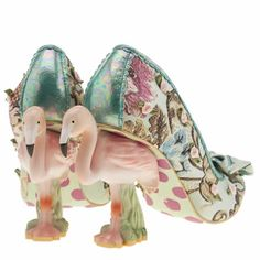 womens irregular choice turquoise blushing bird floral high heels
