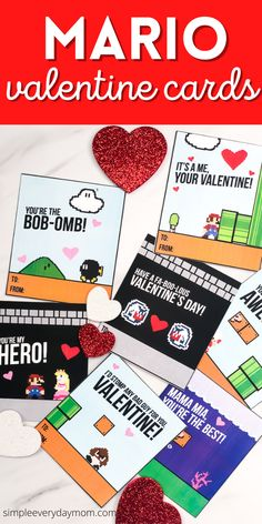 Download these free printable Mario valentine cards for the kids to pass out at the class party. Free Valentine Cards, Valentine Box, Valentines Day Party, Valentines For Kids, Valentine Crafts, Super Mario Free, Kids Crafts, Mario Crafts, Valentine's Cards For Kids