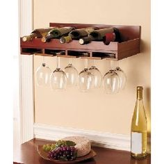 wine and glass wall rack - Google Search