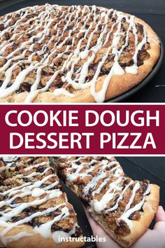 This delicious dessert pizza is baked with cookie dough and a tasty crumble on top and is topped with chocolate, caramel, and icing. #Instructables #recipe #baking #cookies Pizza Dough Dessert Recipe, Cookie Dough Desserts, Cookie Pizza, Dessert Pizza, Baking Cookies, Candy Pizza, Pizza Cookies, Chip Cookies, Homemade Desserts