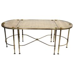 Directoire Style Cocktail Table Set with Gilt Eglomise Design by Maison Bagues | From a unique collection of antique and modern coffee and cocktail tables at http://www.1stdibs.com/furniture/tables/coffee-tables-cocktail-tables/